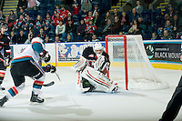 KELOWNA, CANADA, JANUARY 1: Chris Driedger #33 of the Calgary Hitmen makes the save as the Calgary Hitmen visit the Kelowna Rockets on January 1, 2012 at Prospera Place in Kelowna, British Columbia, Canada (Photo by Marissa Baecker/Getty Images) *** Local Caption ***