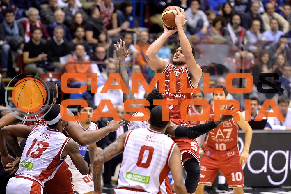 DESCRIZIONE : Milano Lega A 2014-15  EA7 Emporio Armani Milano vs Consultinvest Pesaro<br /> GIOCATORE : Alessandro Gentile<br /> CATEGORIA : Tiro<br /> SQUADRA : EA7 Emporio Armani Milano<br /> EVENTO : Campionato Lega A 2014-2015<br /> GARA :EA7 Emporio Armani Milano vs Consultinvest Pesaro<br /> DATA : 30/11/2014<br /> SPORT : Pallacanestro <br /> AUTORE : Agenzia Ciamillo-Castoria/I.Mancini<br /> Galleria : Lega Basket A 2014-2015  <br /> Fotonotizia : Milano Lega A 2014-2015 Pallacanestro : EA7 Emporio Armani Milano vs Consultinvest Pesaro<br /> Predefinita :