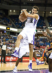 November 8, 2009; Sacramento, CA, USA;  Sacramento Kings forward Omri Casspi (18) grabs a rebound during the first quarter against the Golden State Warriors at the ARCO Arena. The Kings defeated the Warriors 120-107.