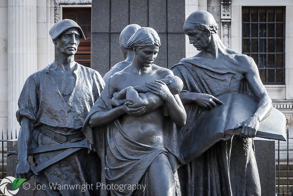 A memorial to Viscount Leverhume at Port Sunlight, Wirral.  The four figures symbolise industry, education, charity and art.