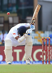 August 4, 2017 - Colombo, Sri Lanka - Sri Lankan opening batsman Dimuth Karunaratne avoids a bouncer ball during the 2nd Day's play in the 2nd Test match between Sri Lanka and India at the SSC international cricket stadium at the capital city of Colombo, Sri Lanka on Friday 04 August 2017. (Credit Image: © Tharaka Basnayaka/NurPhoto via ZUMA Press)