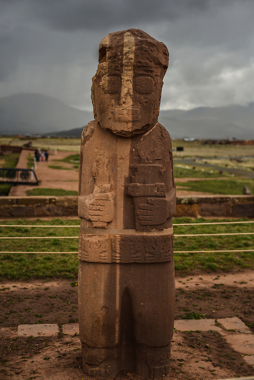 "TIWANAKU, BOLIVIA - December 16, 2013:  The Fraile (friar or monk) monolith inside the Kalasasaya temple at Tiwanaku, the most important archaeological site in Bolivia often referred to as ""the Stonehenge of the Americas"" and a UNESCO world heritage site.  (From the Fraile Monolith info plaque: The figure shows a crown, long hair braids, eye ornaments and a piercing under its lower lip. In its left hand is a keru, and the right hand holds a piece of wood for sniffing hallucinogenic herbs. It also features a belt, a tunic, ankle ornaments and bare feet.)  CREDIT: Meridith Kohut for The New York Times"