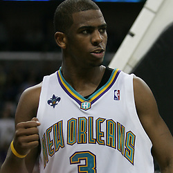New Orleans Hornets guard Chris Paul #3 reacts after getting a basket and a foul against the New York Knicks  in the fourth quarter of their NBA game on April 4, 2008 at the New Orleans Arena in New Orleans, Louisiana. New Orleans Hornets defeated the New York Knicks 118-110 and with the win clinched a NBA Playoff birth.