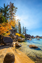 """Secret Cove in Autumn 7"" - Photograph of fall foliage along the shore of Secret Cove, Lake Tahoe."