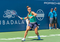 August 5, 2018 - San Jose, CA, U.S. - SAN JOSE, CA - AUGUST 05: Maria Sakkari (GRE) places a backhand during the WTA Singles Championship at the Mubadala Silicon Valley Classic  at the San Jose State University Stadium Court in San Jose, CA  on Sunday, August 5, 2018. (Photo by Douglas Stringer/Icon Sportswire) (Credit Image: © Douglas Stringer/Icon SMI via ZUMA Press)