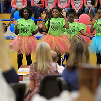 The Milam Dance Team preforms during the AEE grant luncheon in the Milam gym on Friday. Tupelo Public School District teachers who received grants last year displayed what they used their grant money for prior to the start of the lunch.