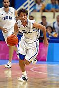 ATENE, 26 AGOSTO 2004<br /> BASKET, OLIMPIADI ATENE 2004<br /> ITALIA - PORTORICO<br /> NELLA FOTO: GIANMARCO POZZECCO<br /> FOTO CIAMILLO