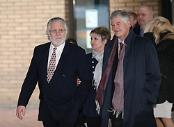 Dave Lee Travis with his wife gives a statement after being cleared of 12 counts of indecent assault. Jury failed to reach verdicts on two other charges,  Southwark Crown Court, London, United Kingdom. Thursday, 13th February 2014. Picture by Stephen Lock / i-Images