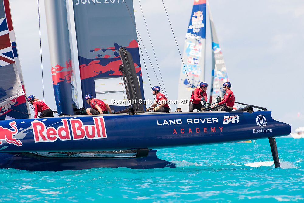 The Great Sound, Bermuda, 20th June 2017, Red Bull Youth America's Cup Finals. Race three, Land Rover BAR Academy (GBR).