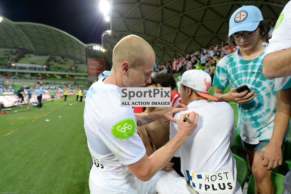Aaron Mooy of Melbourne City with elated fans at the end of the Hyundai A-League, 19th December 2015, RD11 match between Melbourne City FC v Melbourne Victory FC at Aami Park in a 2:1 win to City in front of a 23,000+ crowd. Melbourne Australia. © Mark Avellino | SportPix.org.uk