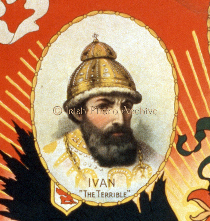 Darkest Russia a grand romance of the Czar's realm.  Poster by American artist Sidney Ellis 1850-1931.  c1895. Caption: Rulers of Russia, past and present: Ivan 'The Terrible' ... Nicholas II. (Detail depicting: Tsar Ivan IV (the Terrible))
