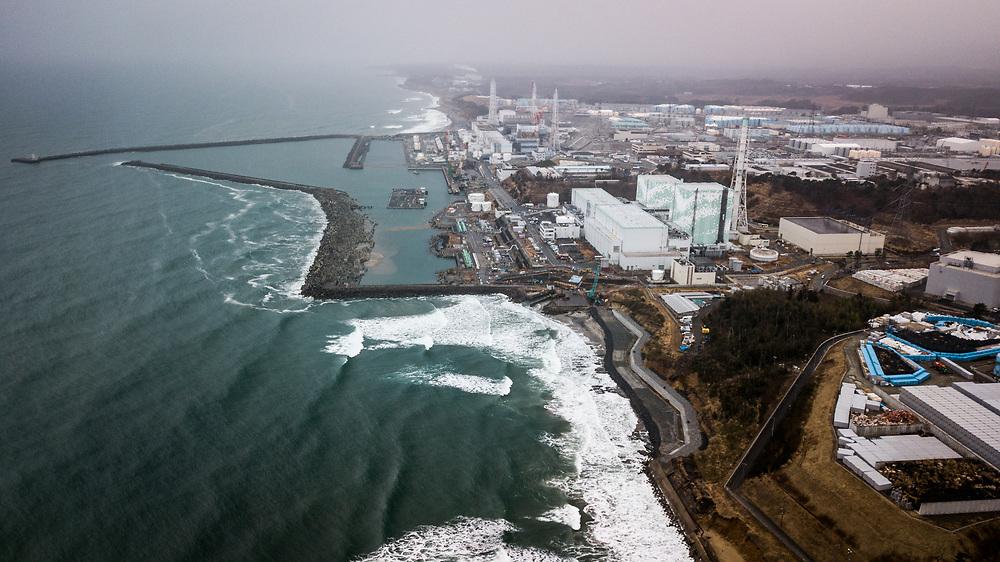 FUKUSHIMA, JAPAN - MARCH 8: An aerial photo of Tokyo Electric Power Co (TEPCO)'s Fukushima Daiichi Nuclear Power Plant is seen on March 8, 2018 in Okuma, Fukushima, Japan. (Photo by Richard Atrero de Guzman/AFLO)