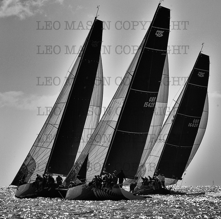 COWES, ENGLAND - AUGUST 09: Aberdeen Asset Management COWES WEEK Regatta Fast 40+ on August 9, 2016 in Cowes, England. (Photo by Leo Mason Split Second/Corbis via Getty Images)