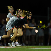 23 March 2018: San Diego State Aztecs midfielder Marissa MacRea battles for a loose ball in the first half. The Aztecs beat the Lady Flames 11-10 Friday night. <br /> More game action at sdsuaztecphotos.com
