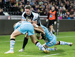 Rob McCusker of Ospreys held up short<br /> <br /> 2nd November, Liberty Stadium , Swansea, Wales ; Guinness pro 14's Ospreys Rugby v Glasgow Warriors ;  <br /> <br /> Credit: Simon King/News Images<br /> <br /> Photographer Simon King/Replay Images<br /> <br /> Guinness PRO14 Round 8 - Ospreys v Glasgow Warriors - Friday 2nd November 2018 - Liberty Stadium - Swansea<br /> <br /> World Copyright © Replay Images . All rights reserved. info@replayimages.co.uk - http://replayimages.co.uk