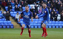 Danny Lloyd of Peterborough United (left) celebrates scoring his sides opening goal with team-mate Andrew Hughes - Mandatory by-line: Joe Dent/JMP - 23/12/2017 - FOOTBALL - ABAX Stadium - Peterborough, England - Peterborough United v Bury - Sky Bet League One