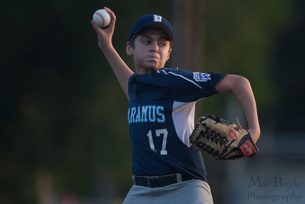 Paramus' Gavin Niland pitches in relief in the third inning during the Little League State Tournament finals between Paramus and Erial held in Williamstown Tuesday night.