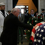 Former Soviet Premier Mikhail Gorbachev pays his respects at the casket of President Reagan in the Rotunda of the US Capitol Thursday, June 10, 2004.  The former president will lie-in-state there until Friday morning...Photo by Khue Bui