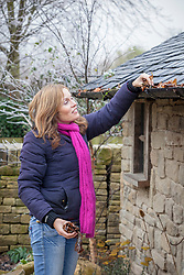 Removing leaves and debris from a gutter in winter