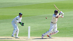 Surrey's Kevin Pietersen cuts the ball. - Photo mandatory by-line: Harry Trump/JMP - Mobile: 07966 386802 - 22/04/15 - SPORT - CRICKET - LVCC County Championship - Division 2 - Day 4 - Glamorgan v Surrey - Swalec Stadium, Cardiff, Wales.
