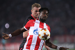 Richmond Boakye of Crvena Zvezda vs Rob Holding of Arsenal  during football match between NK Crvena Zvezda Beograd and Arsenal FC in Group H of UEFA Europa League 2017/18, on October 19, 2017 in Stadion Rajko Mitic, Belgrade, Serbia. Photo by Marko Metlas / Sportida