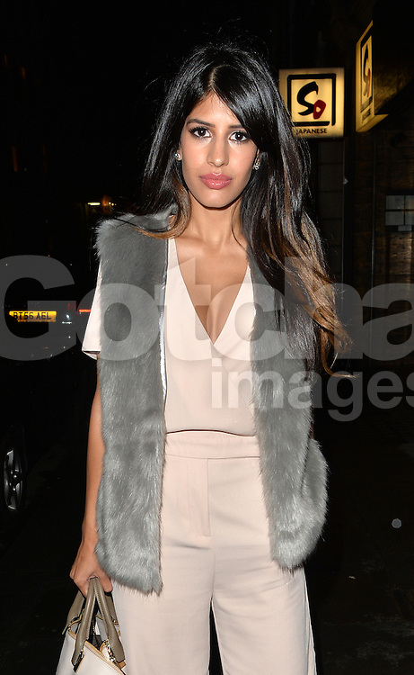 Jasmin Walia at Nobu restaurant in Mayfair London. UK. 11/08/2015<br />BYLINE MUST READ : GOTCHAIMAGES.COM<br /><br />Copyright by © Gotcha Images Ltd. All rights reserved.<br />Usage of this image is conditional upon the acceptance <br />of Gotcha Images Ltd, terms and conditions available at<br />www.gotchaimages.com