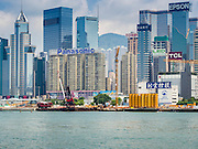 10 AUGUST 2013 - HONG KONG:    The Hong Kong Skyline as seen from the middle of Victoria Harbor. Hong Kong is one of the two Special Administrative Regions of the People's Republic of China, Macau is the other. It is situated on China's south coast and, enclosed by the Pearl River Delta and South China Sea, it is known for its skyline and deep natural harbour. Hong Kong is one of the most densely populated areas in the world, the  population is 93.6% ethnic Chinese and 6.4% from other groups. The Han Chinese majority originate mainly from the cities of Guangzhou and Taishan in the neighbouring Guangdong province.      PHOTO BY JACK KURTZ