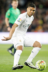 02.04.2016, Camp Nou, Barcelona, ESP, Primera Division, FC Barcelona vs Real Madrid, 31. Runde, im Bild Real Madrid's Carlos Henrique Casemiro // during the Spanish Primera Division 31th round match between Athletic Club and Real Madrid at the Camp Nou in Barcelona, Spain on 2016/04/02. EXPA Pictures © 2016, PhotoCredit: EXPA/ Alterphotos/ Acero<br /> <br /> *****ATTENTION - OUT of ESP, SUI*****