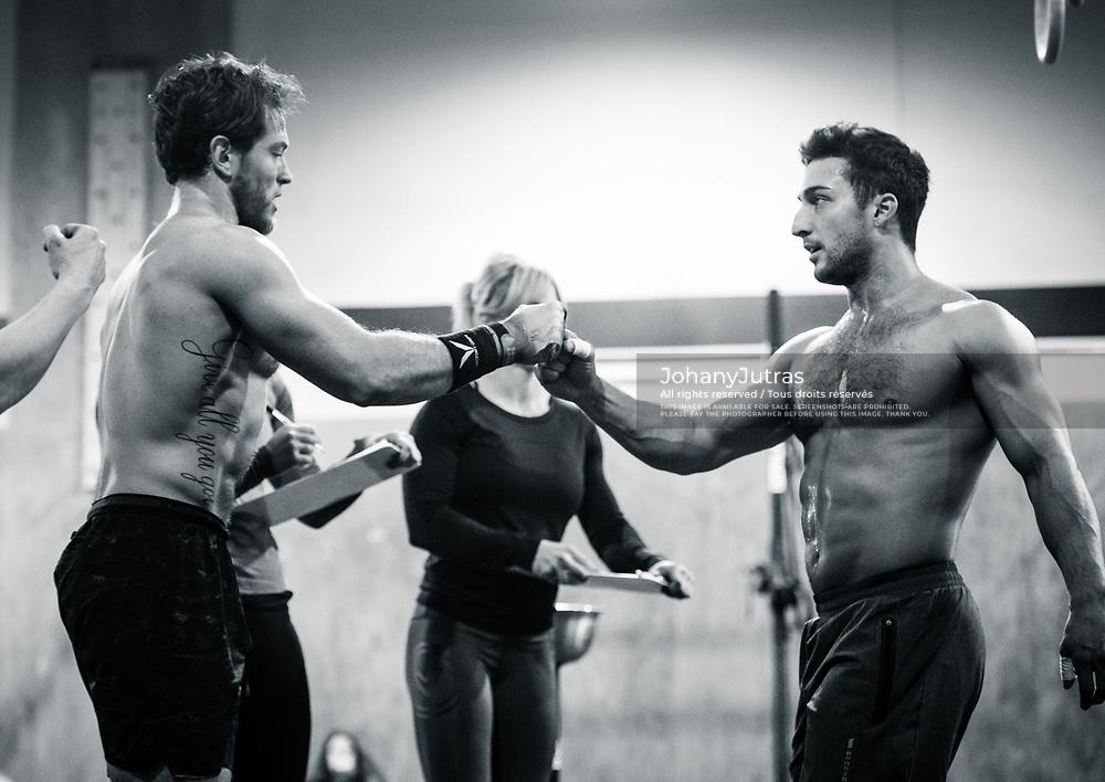 Charles-David Brillant et Maxime Roy De Sylva. CrossFit Opens 18.3 at CrossFit ADM gym in Longueuil, QC, Saturday, March 10, 2018. (Photo: Johany Jutras)