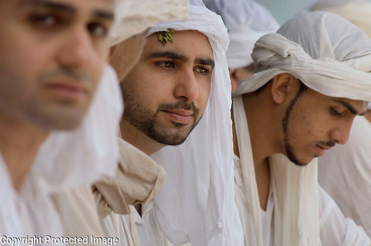Iraqi Mandean Christian men during baptism ceremony, Damascus, Syria..Photograph by John Wreford.9th May 2010