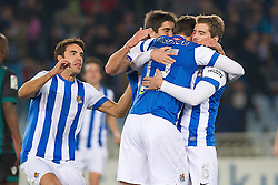 15.12.2013, Anoeta Stadium, San Sebastian, ESP, Primera Division, Real Sociedad vs Real Betis, 16. Runde, im Bild Real Sociedad's players celebrate goal // Real Sociedad's players celebrate goal during the Spanish Primera Division 16th round match between Real Sociedad and Real Betis at the Anoeta Stadium in San Sebastian, Spain on 2013/12/15. EXPA Pictures © 2013, PhotoCredit: EXPA/ Alterphotos/ Mikel<br /> <br /> *****ATTENTION - OUT of ESP, SUI*****