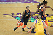 Connecticut Sun guard Courtney Williams (10) dribbles the ball during a WNBA basketball game against Los Angeles Sparks on Friday, May 31, 2019, in Los Angeles.The Sparks defeated the Sun 77-70.  (Dylan Stewart/Image of Sport)