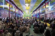 A theater tent in Kumbh Mela..Pilgrims after the holy bath can join shows in the tents.