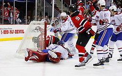 Jan 21, 2008; Newark, NJ, USA; New Jersey Devils center Travis Zajac (19) scores a goal past Montreal Canadiens goalie Carey Price (31) during the second period at the Prudential Center.