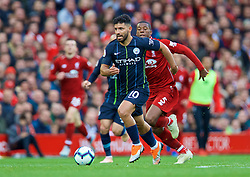 LIVERPOOL, ENGLAND - Sunday, October 7, 2018: Manchester City's Sergio Aguero during the FA Premier League match between Liverpool FC and Manchester City FC at Anfield. (Pic by David Rawcliffe/Propaganda)