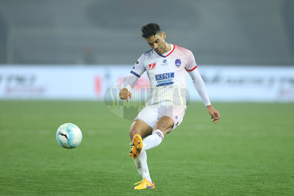 Gabriel Cichero of Delhi Dynamos FC in action during match 43 of the Hero Indian Super League between Delhi Dynamos FC and Kerala Blasters FC  held at the Jawaharlal Nehru Stadium, Delhi, India on the 10th January 2018<br /> <br /> Photo by: Arjun Singh  / ISL / SPORTZPICS