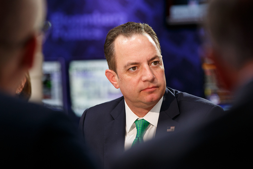 REINCE PRIEBUS, chairman of the Republican National Committee, speaks during a Bloomberg Politics interview on the sidelines of the Republican National Convention (RNC) in Cleveland, Ohio, U.S., on Tuesday, July 19, 2016. © 2016 Patrick T. Fallon