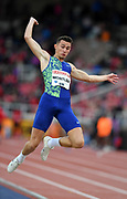 Thobias Montler (SWE) wins the long jump at 26-11¾ (8.22m) during the Bauhaus-Galan in a IAAF Diamond League meet at Stockholm Stadium in Stockholm, Sweden on Thursday, May 30, 2019. (Jiro Mochizuki/Image of Sport)