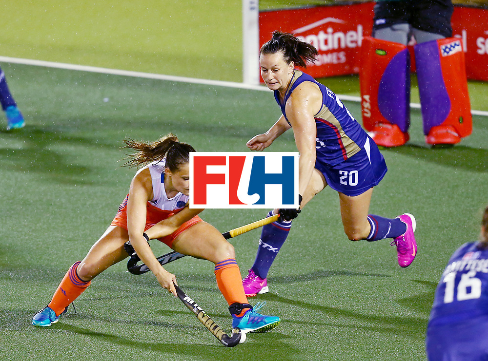 New Zealand, Auckland - 18/11/17  <br /> Sentinel Homes Women&rsquo;s Hockey World League Final<br /> Harbour Hockey Stadium<br /> Copyrigth: Worldsportpics, Rodrigo Jaramillo<br /> Match ID: 10296 - USA vs NED<br /> Photo: (10) JONKER Kelly attack against (20) FROEDE Ali and (31) BRIGGS Jackie (GK)