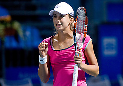 Petra Martic of Croatia during doubles match at 1st Round of Banka Koper Slovenia Open WTA Tour tennis tournament, on July 20 2009, in Portoroz / Portorose, Slovenia. (Photo by Vid Ponikvar / Sportida)