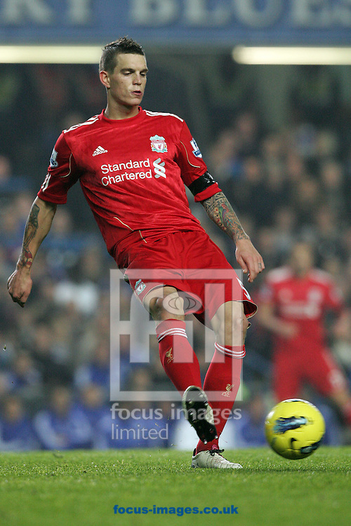 Picture by Paul Terry/Focus Images Ltd. 07545642257.20/11/11.Daniel Agger of Liverpool with the ball during the Barclays Premier League match at Stamford Bridge stadium, London.