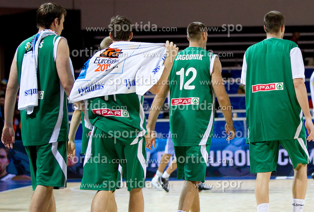 Players of Slovenia after the basketball match between National teams of Ukraine and Slovenia in Group D of Preliminary Round of Eurobasket Lithuania 2011, on September 1, 2011, in Arena Svyturio, Klaipeda, Lithuania. Slovenia defeated Ukraine 68 - 64. (Photo by Vid Ponikvar / Sportida)
