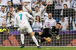 Cristiano Ronaldo dos Santos Aveiro of Real Madrid scores a penalty during the La Liga Santander match between Real Madrid CF and Sevilla FC on December 09, 2017 at the Santiago Bernabeu stadium in Madrid, Spain.