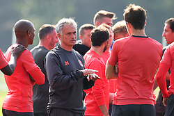 Manchester United manager Jose Mourinho talks with Michael Carrick - Mandatory by-line: Matt McNulty/JMP - 14/09/2016 - FOOTBALL - Manchester United - Training session ahead of Europa League Group A match against Feyenoord