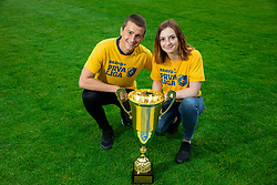 Aleksander Palamar and Eva Globokar during celebration of NK Bravo, winning team in 2nd Slovenian Football League in season 2018/19 after they qualified to Prva Liga, on May 26th, 2019, in Stadium ZAK, Ljubljana, Slovenia. Photo by Vid Ponikvar / Sportida