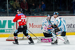 24.02.2019, Ice Rink, Znojmo, CZE, EBEL, HC Orli Znojmo vs EHC Liwest Black Wings Linz, Qualifikationsrunde, 49. Runde, im Bild v.l. Nicolas Hlava (HC Orli Znojmo) Michael Ouzas (EHC Liwest Black Wings Linz) Michael Davies (EHC Liwest Black Wings Linz) // during the Erste Bank Eishockey League 49th round match between HC Orli Znojmo and EHC Liwest Black Wings Linz at the Ice Rink in Znojmo, Czechia on 2019/02/24. EXPA Pictures © 2019, PhotoCredit: EXPA/ Rostislav Pfeffer
