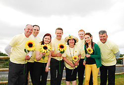 Store managers and staff from Kavanaghs Supervalu Stores in Mayo launched their upcoming Fun Walk ' Sunflower Sunday 'which takes place on the 1st of July on the Westport Greenway. The event will raise funds for the Mayo /Roscommon Hospice...Liam Campion,(Supervalu Westport) John Page (Supervalu Castlebar), Grace O'Malley, Andy Moran (Community Development Officer Mayo Roscommon Hospice ) Ann Gibbons, Kevin Kelly (Supervalu Claremorris), Niamh O'Malley and Pat O'Brien (Supervalu Kiltimagh)...Pic Conor McKeown