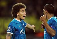 Fotball<br /> Tyskland<br /> 19.03.2014<br /> Foto: Witters/Digitalsport<br /> NORWAY ONLY<br /> <br /> v.l. Axel Witsel, Jose Rondon (Zenit)<br /> Fussball, Champions League, Achtelfinale Rueckspiel, Borussia Dortmund - Zenit St. Petersburg 1:2