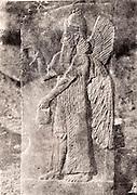 "EXCLUSIVE (b/w photo) Winged Genie, Palace of King Sargon II, Khorsabad, Iraq, Middle East. Lost at Shatt al-Arab in 1855. Picture by Victor Place...Additional info :..Khorsabad. Palais de Sargon II. (N.A. pl. 46 - 2 ""Divinité Ailée de Khorsabad"") Perdu Chatt el Arab 1855. Cliché V. Place."