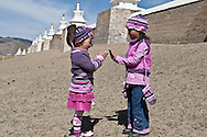 Mongolia. little girls in front of the temple of Erdeni Zuu  Hakhorin - Mongolia